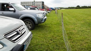 4x4 vehicles and the judge's trailer at Evesham Sheepdog Trials
