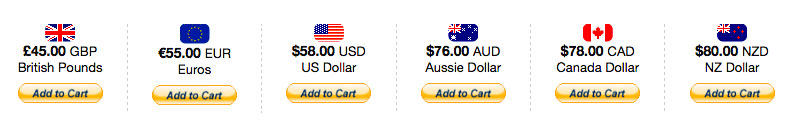 Pay for your gift in British Pounds, Euros, US Dollars, Australian, Canadian or New Zealand dollars