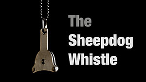 Photo of a sheepdog whistle against a black background - title image for our tutorial