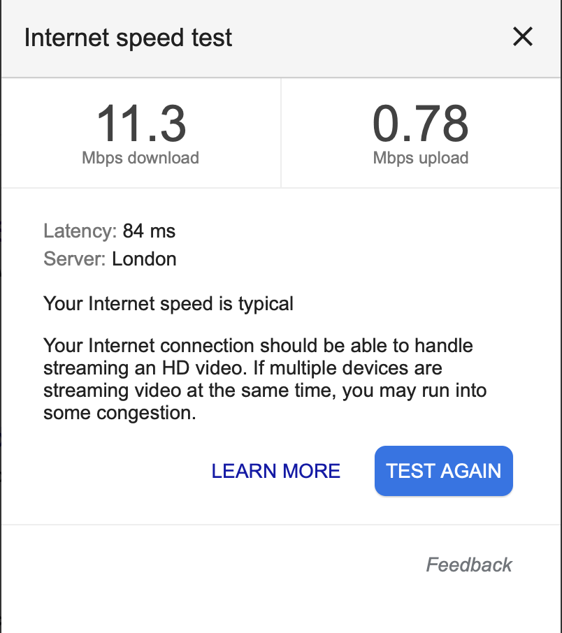 Internet Speed Test (Google).